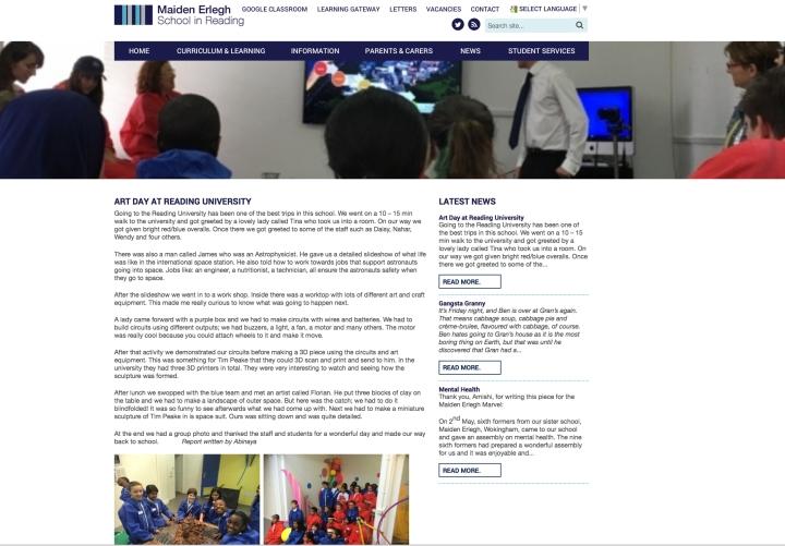 Maiden Erlegh webpage report