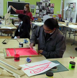 Katinka leads a screen-printing workshop based on MERL posters.